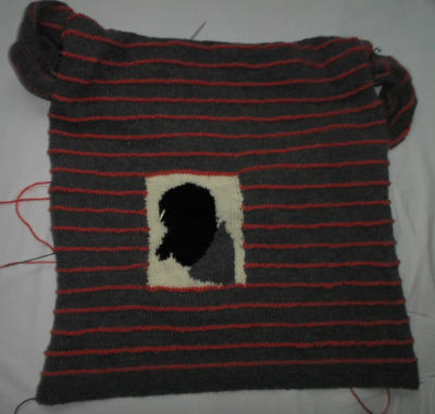 Half of the sweater black head